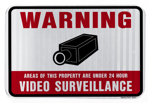 Warning Areas of This Property Are Under 24 Hour Video Surveillance Sign