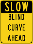 Slow Blind Curve Ahead Sign (Mixed Colors)
