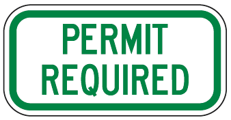 Permit Required Sign (Green)