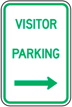 Visitor Parking Sign (with right arrow)
