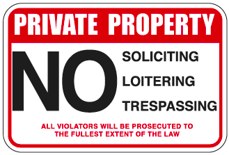 "Private Property Sign 9""x12"" on .040 Polystyrene (Pack of 4)"