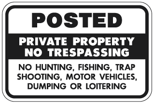 Posted Private Property No Trespassing… Sign