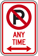 No Parking Symbol Any Time (with double arrow) Sign
