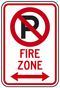 No Parking Symbol Fire Zone (with Double Arrow) Sign