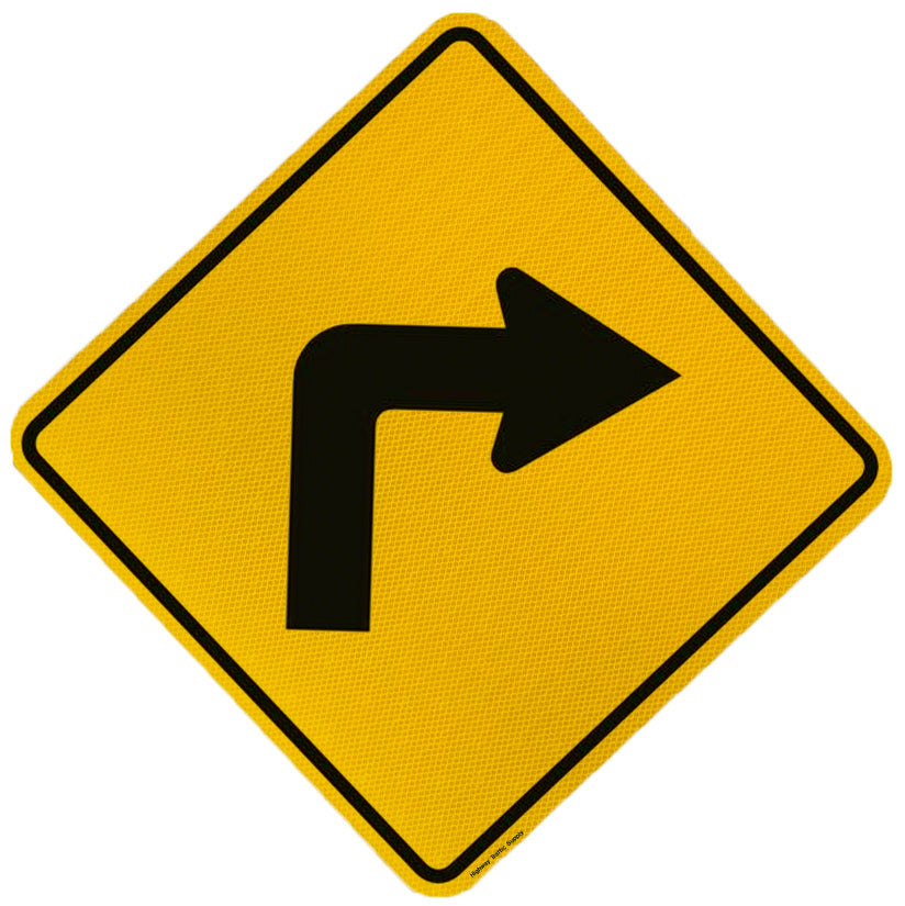 Sharp Curve Sign (Right Arrow)