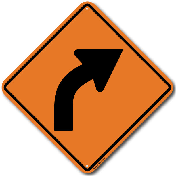 W1-2R Right Curve Sign
