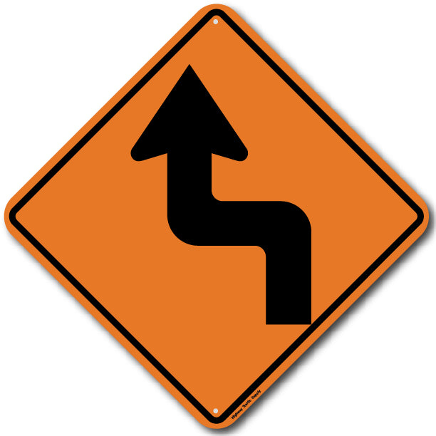 W1-3L Left Reverse Turn Sign