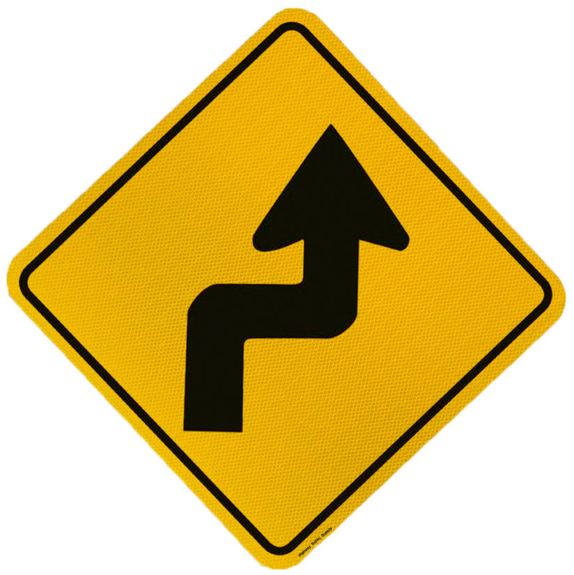 Multi Sharp Curve Sign (Right Arrow)