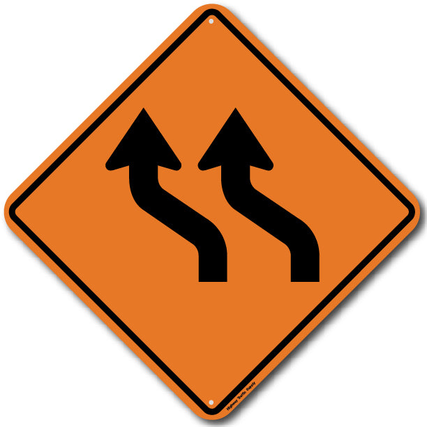 W1-4B Left Double Reverse Curve Sign