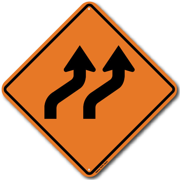 W1-4B Right Double Reverse Curve Sign