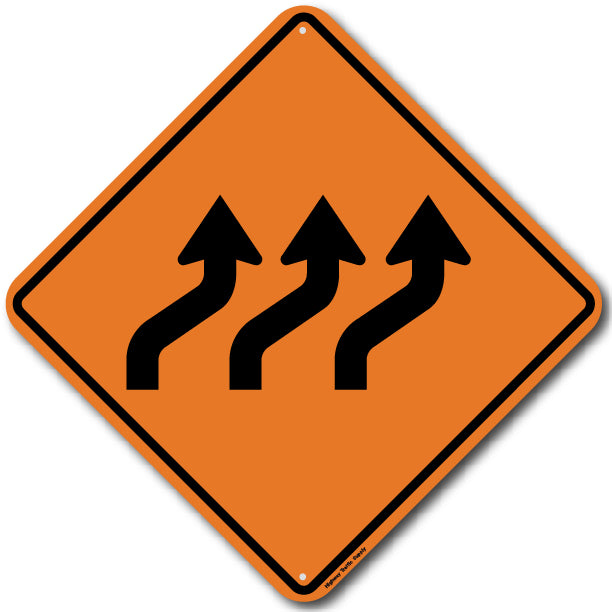 W1-4C Right Triple Reverse Curve Sign
