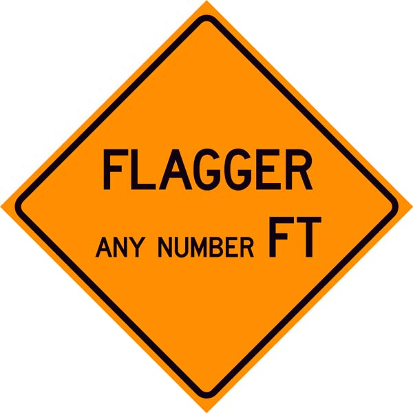 Flagger Ahead Custom Feet Sign