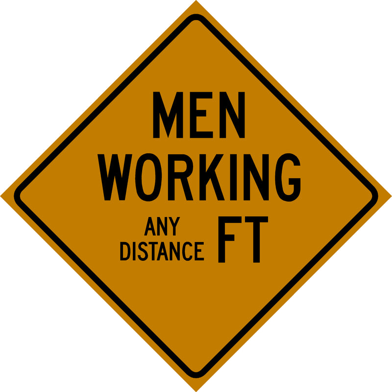 Custom Feet Men Working Sign