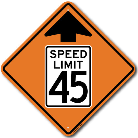 W3-5 Speed Limit 45 Ahead Sign