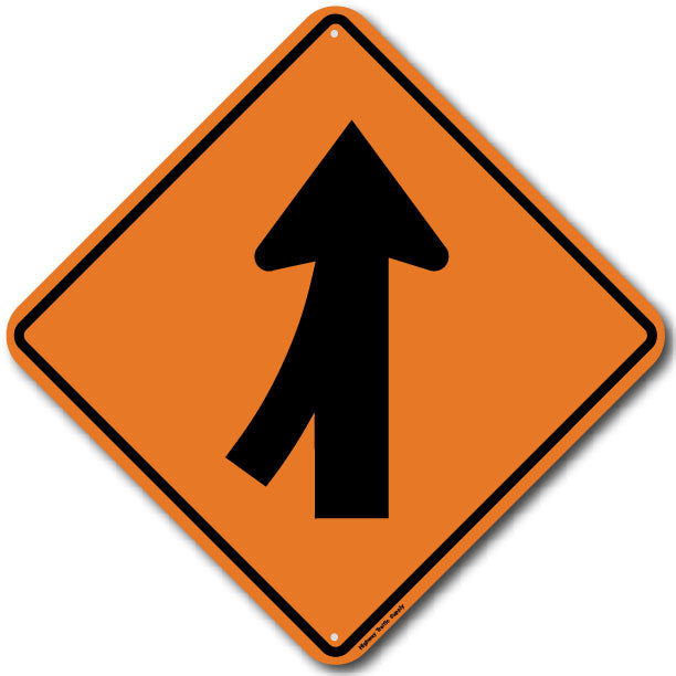W4-1L Left Merge Sign