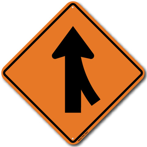 W4-1R Right Merge Sign