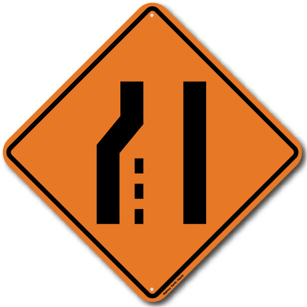W4-2L Left Lane Ends Sign