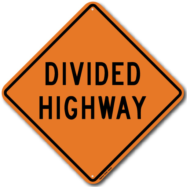 W6-1a Divided Highway Sign