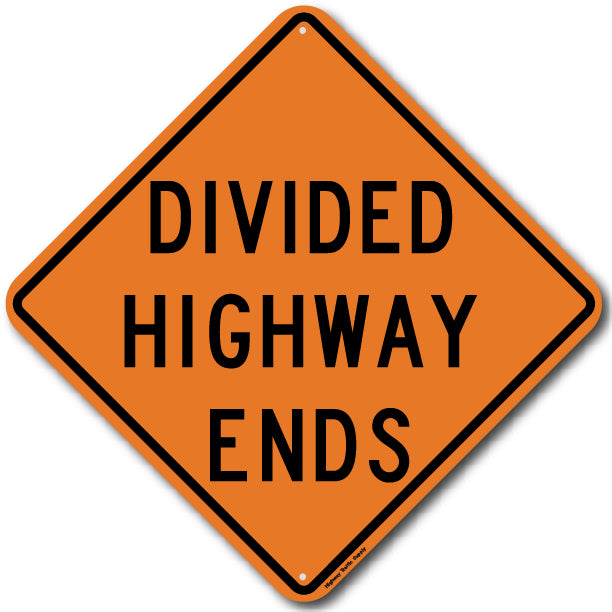 W6-2a Divided Highway Ends Sign