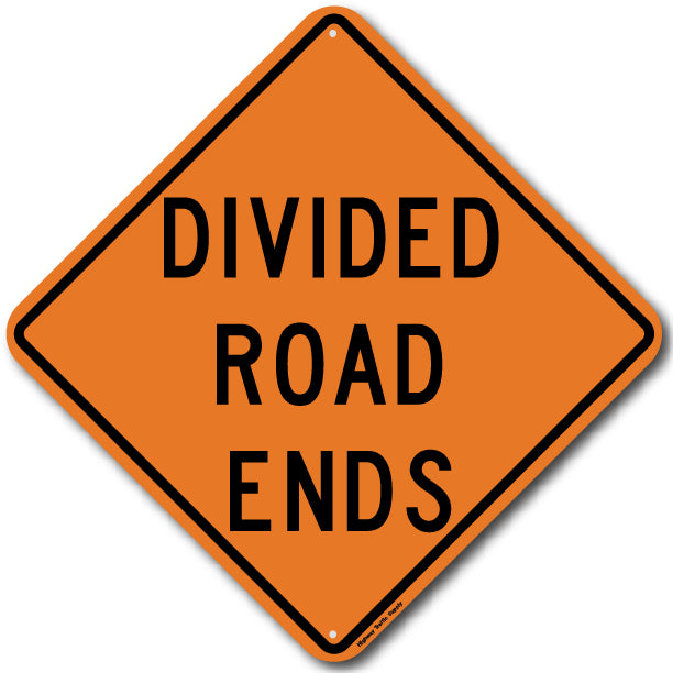 W6-2b Divided Road Ends Sign