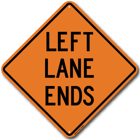 W9-1L Left Lane Ends Sign