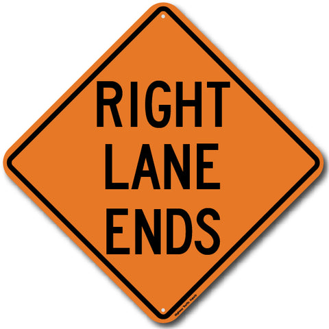 W9-1R Right Lane Ends Sign