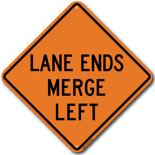 W9-2L Lane Ends Merge Left Sign