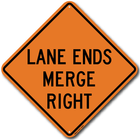 W9-2R Lane Ends Merge Right Sign