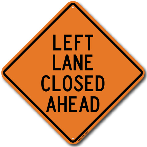 W9-3L Left Lane Closed Ahead Sign