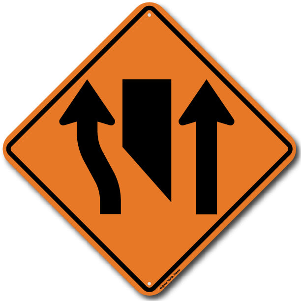 W9-3a Center Lane Closed Ahead (Symbol) Sign