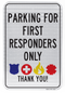 Parking for First Responders Only Sign (White)