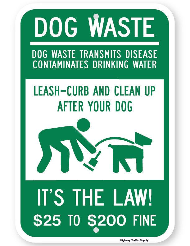 Dog Waste Transmits Disease $25 to $200 Fine Sign