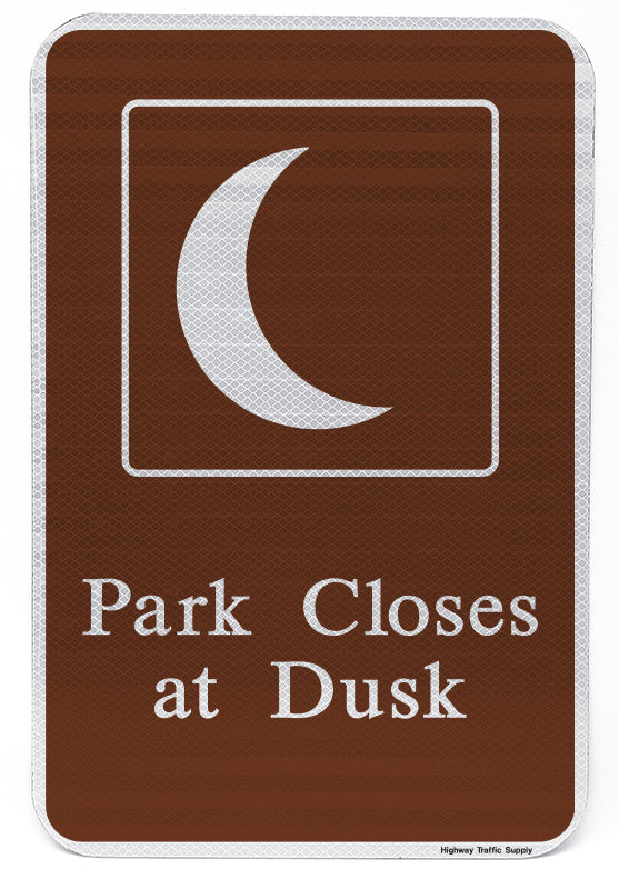 Park Closes At Dusk Sign