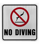 No Diving Sign (Black and Red)