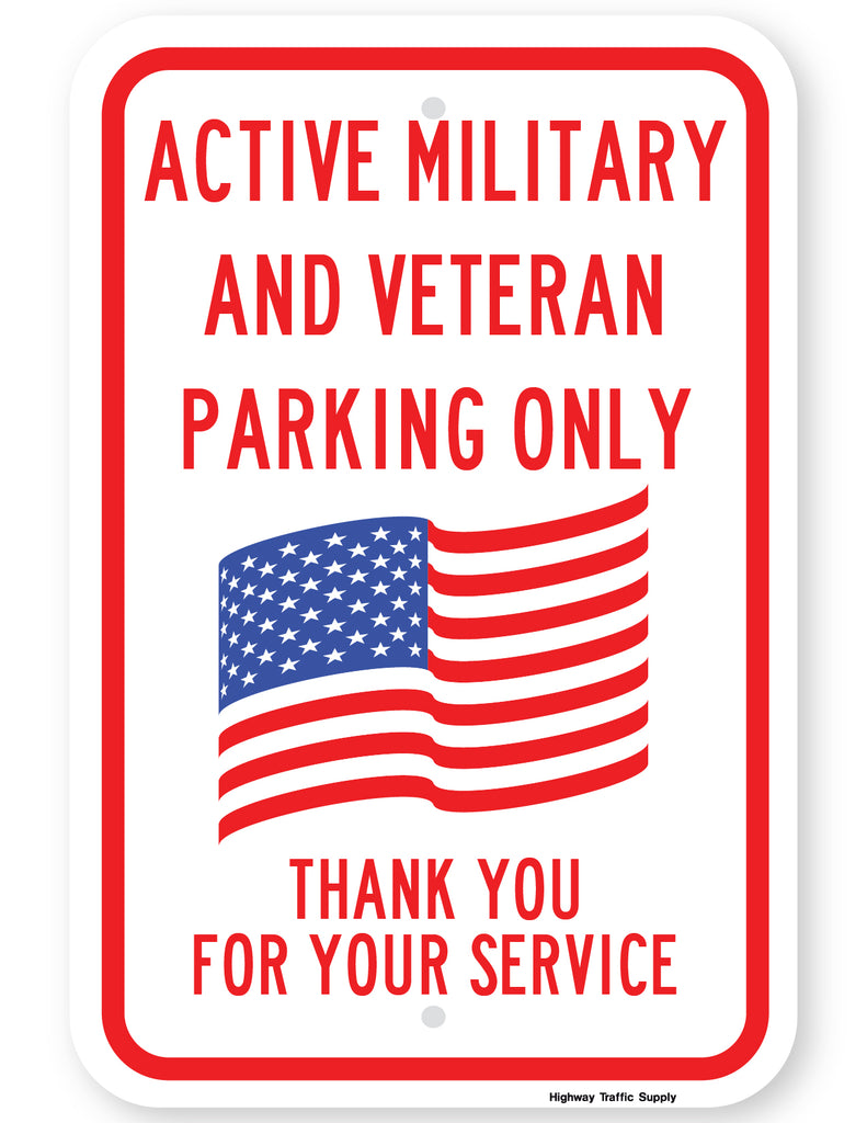 Active Military and Veteran Parking Only Sign (Red Version)