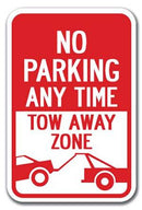 No Parking Any Time Tow-Away Zone Sign