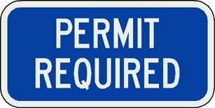 Permit Required Sign (Blue)