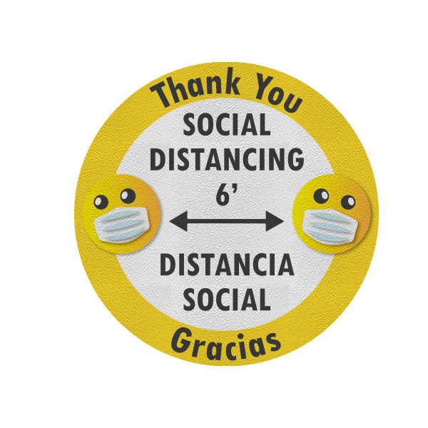 Thank You Social Distancing Bilingual Decals (Pack of 5)