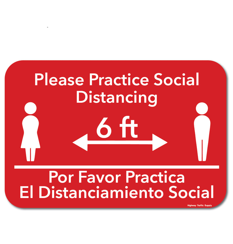 Bilingual Please Practice Social Distancing Sign