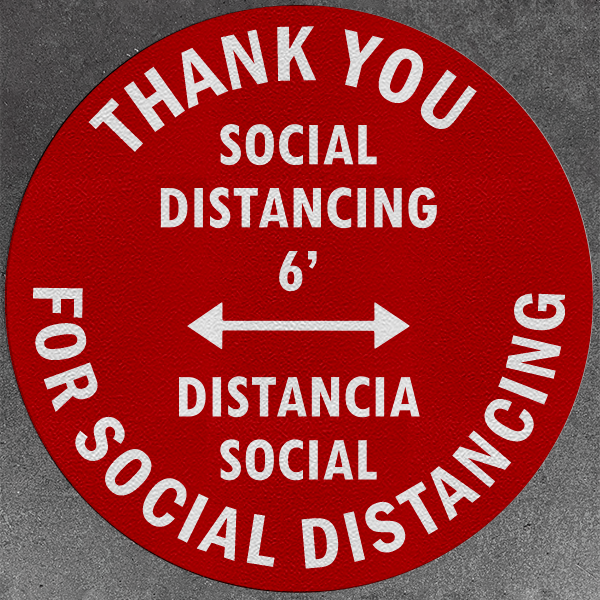 Thank You for Social Distancing Distancia Social Decals (Pack of 5)