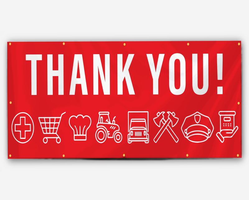 thank You Frontline Workers Banner (Red)