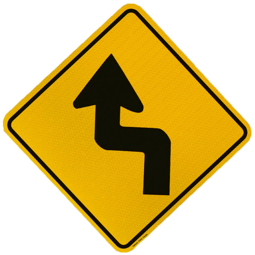 Multi Sharp Curve Sign (Left Arrow)
