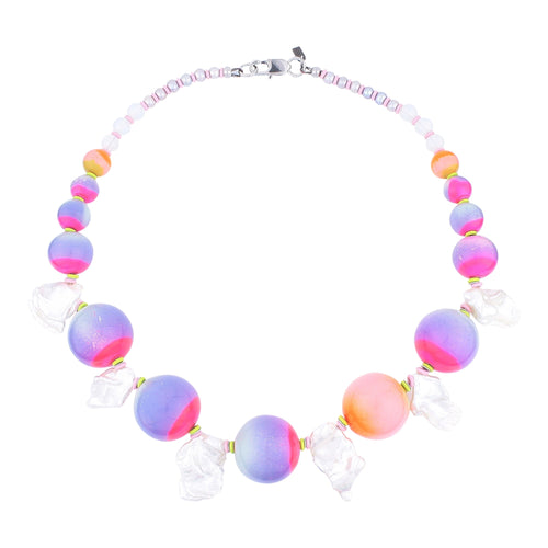 beuy - bёuy - Celestial colour pop Pearl + glass statement necklace - Strata