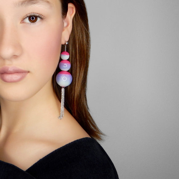 beuy - bёuy - Cascading universe glass earrings - carnival - Strata
