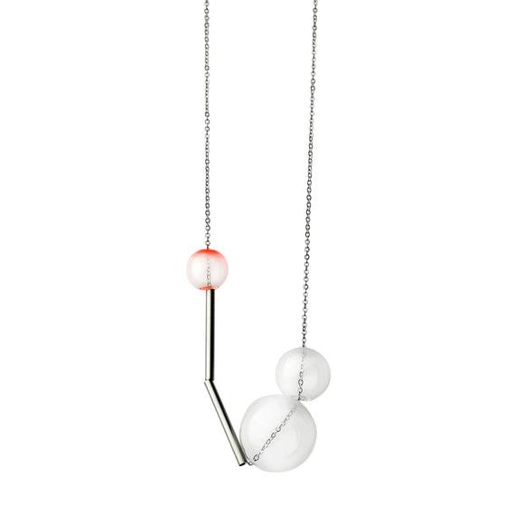 Gravity glass necklace - chili red