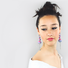 Load image into Gallery viewer, Cascading universe glass earrings - carnival