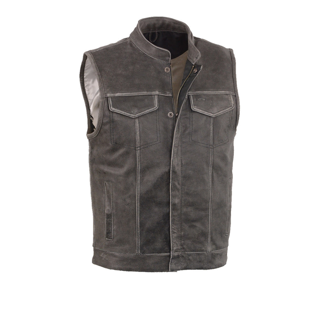 Men's Distressed Grey Motorcyle Son Of Anarchy Style Leather Vest W/Gun Pockets