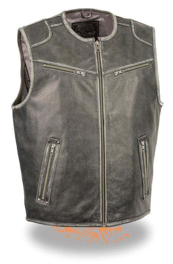 Men's Distressed Grey Leather Vest W/Gun Pockets