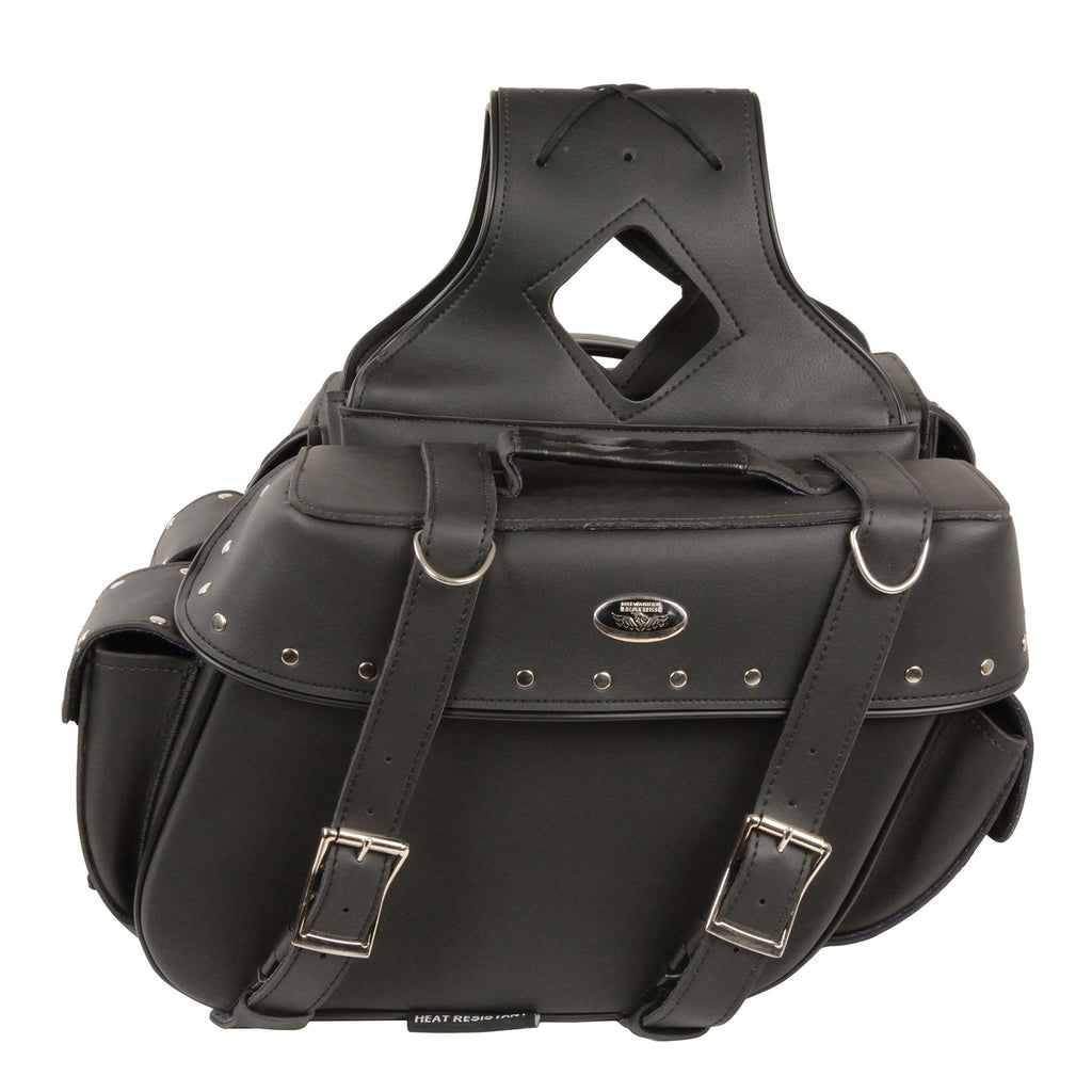 Medium Zip-Off PVC Throw Over Riveted Saddle Bag(13X10X5X20)