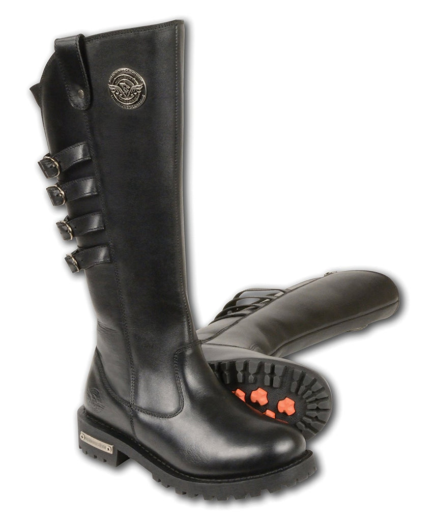 Milwaukee Leather Women's Tall Boots with Buckle Detail